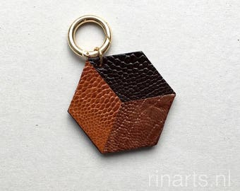 Geometric bag charm / keychain 3D Hexagon ( the CUBE ) made from cognac, medium and dark brown genuine ostrich leather. Gift under 25