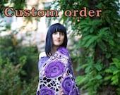 Custom order Lavender violet purple flowers. Handmade felted wrap shawl capelet