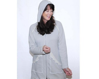 Light grey and cream summer hoodie