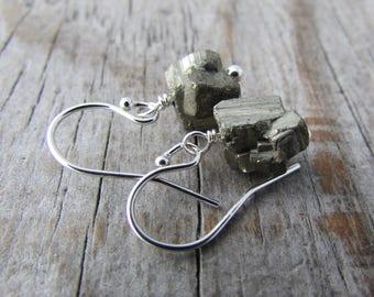 Raw Pyrite Earrings, small, unpolished gemstone nuggets, simple earrings, dangles
