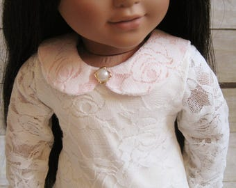 Cream Lace tunic top for 18 inch dolls - lace peter pan collar doll top - lace doll top - Mori tunic top