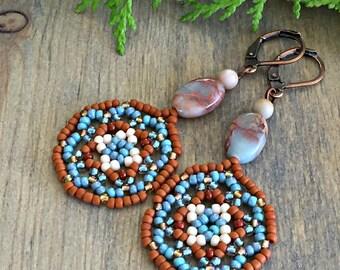 Canyon Song Mandala earrings , Huichol jewelry
