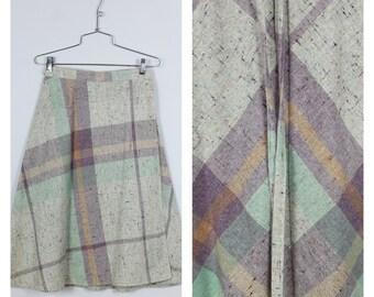 Vintage 1970's Wool Blend Oatmeal Heather + Lavender + Aqua Plaid Wrap Midi Skirt M