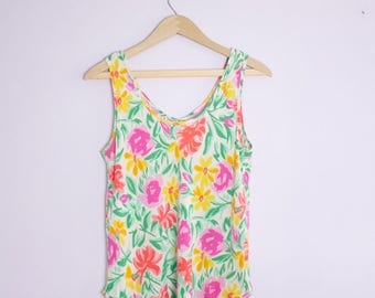 Vintage 1980's Bright Floral Silk Tank Top M