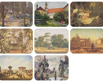 Fountains. Collection / Set of 8 Vintage Prints, Postcards -- 1970s-1980s
