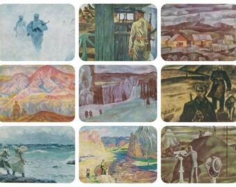 Border Guards. Collection / Set of 9 Vintage Prints, Postcards -- 1960s-1980s