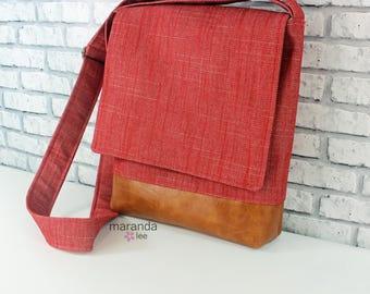 Nori Medium Flap Messenger Slouch Bag with Adjustable Cross Body Bag - Red Denim - iPad Bag  READY to SHIP