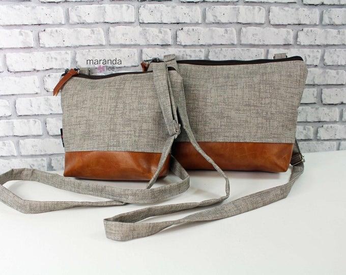 BRI  Messenger Bag -2 Sizes - Oyster Denim - READY to SHIP