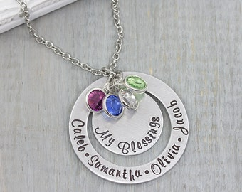 Personalized Mom Necklace - Personalized Jewelry - Grandmother Jewelry - Hand Stamped Necklace Gift for Grandma - Mothers Day Gift