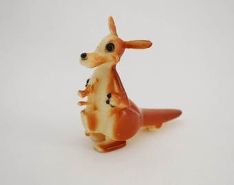 Vintage 1960's Kangaroo and Baby Joey Ramp Walker Toy - Incline Toy - Made in Hong Kong