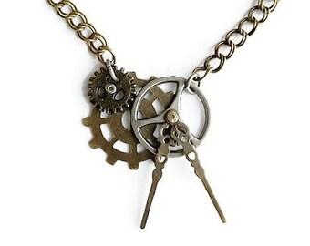Steampunk Watch Hands Necklace
