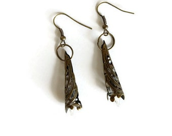 Brass Neo-Victorian Repurposed Handmade Ooak Filigree Lace Lightbulb Earrings