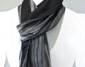Large Mens Scarf, SIlk Scarf Handpainted, Black and Gray Japanese  Zen Stripes Scarf, Reversible Scarf, Gift for him, 14x72 inches.