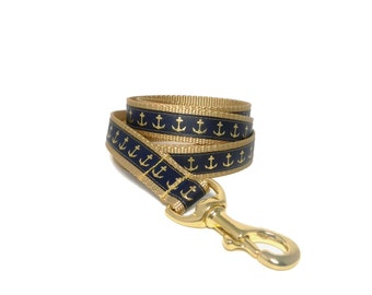 Nautical Dog Leash in Navy and Gold