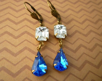 Vintage Czech Glass Gem Earrings - Crystal & Sapphire Old Hollywood Estate Style Earrings