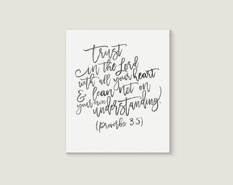 Proverbs Wall Art - Proverbs 3 5 - Trust In The Lord - Wall Art Canvas - Canvas Bible Verse - Bible Verse Canvas - Proverbs Bible Verse
