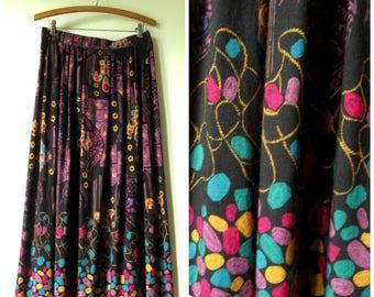 boho skirt, black purple colorful print, elastic waist, long maxi length, gypsy style, vintage 80s women medium Tofy
