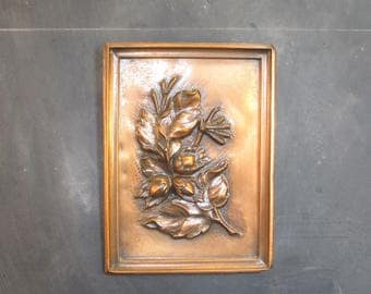 Vintage Handmade Copper Repousse Albert Gilles Wall Plaque