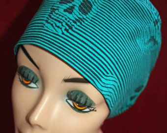 Turquoise Striped Skull Cap (biker/chemo/surgical)