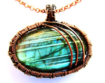 "Blue Labradorite & Hand Woven Oxidized Copper Wire Pendant - 1.75"" x .2"""