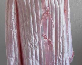 Vintage Quilted Bed Jacket Robe Pink Satin Tom Bezzuda for Barad & co Size Large