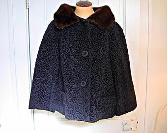 Vintage FRENCH PERSiAN LAMB JACKET Fur Coat Black w/ Brown MiNK Collar