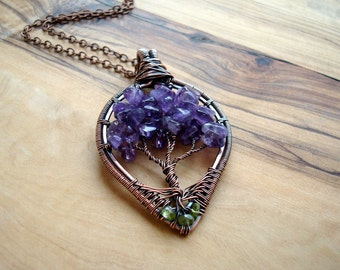 Wire wrapped Tree of Life necklace - Amethyst necklace - Nature Jewellery - Copper necklace - Amethyst Pendant - 7th anniversary gift