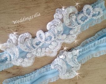 Blue  Wedding Garter/Bridal Garter / Lace Garter/ Pearl Wedding Garter/Wedding Garter Belt/Wedding Garter Set/ Blue and Ivory Lace Garter