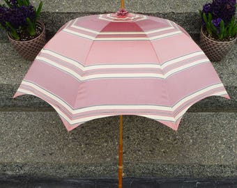 Antique Parasol Umbrella with long walking stick handle recovered with Pink Satin fabric circa 1910
