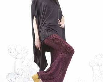 Clearance - burgundy Velvet Burnout Bell Bottoms - burgundy bell bottoms,  velvet bell bottoms, hippie chick carousel ink