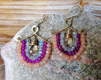 Peachy. Artisan Hammered Brass Drop Earrings with Wire Wrapped Gems-Labradorite, Orchid Purple Jade, Peach Moonstone & Champagne Quartz-Boho