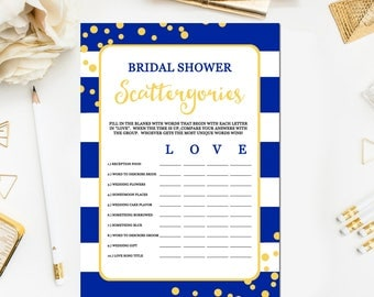 Bridal Shower Scattergories Game Blue and Yellow, Printable Royal Blue Scattergories Game Blue Bridal Shower Game Instant Download BR47