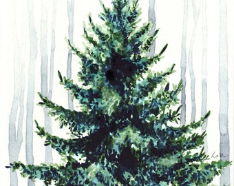 Evergreen Tree in Winter Woods - Giclee Print of Watercolor Painting - Christmas Holiday Wintertime Landscape Light Snow Gift for Her