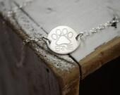 Dog Name Bracelet - Engraved Paw Print