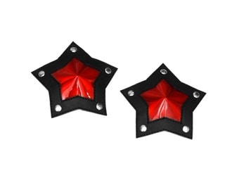 Iridescent Mirror Red and Black PVC Star Shaped Pasties With Studs