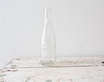 Vintage Mountain Paramount Beverages Bottle Soda Pop Clear Glass White Label Kenosha Wisconsin