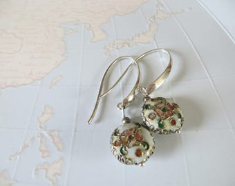 Cloisonne enamel silver long earrings with pink rose green floral leaves Ivory white-unique handmade earrings Hongarian beads-madebymirjam
