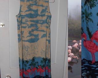 Flamingo Swamp Dress Clouds Palm Trees Flamingos Sleeveless Vintage Dress