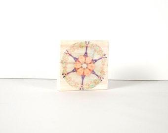 Pink Mandala Art Block, Art Blocks, Wood Printing, Wood Block Art, Distressed Art, Inspiration, Small Art, Meditation