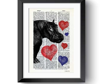 Hippo with hearts dictionary print-hippo print-hippo on book page-love hippos print-Dictionary-nursery print-dorm print-NATURA PICTA-DP140