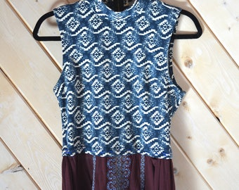 Tribal Print crop Top Shirt/ SIZE SM/ Recycled Crop Top/ Recycled Shirt/ Upcycled Shirt/ Upcycled Clothing/ Recycled Clothing