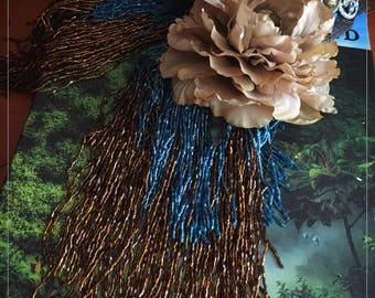 Tribal Fusion Flower Headdress with Fringe Flower Headpiece Tribal Belly Dance Headdress Festival Headdress Gypsy Crown Copper Turquoise