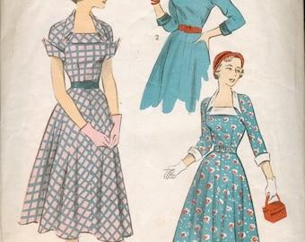 Fab Vintage 1950s Advance 5574 Portrait Neckline Flared Skirt Dress Sewing Pattern B33