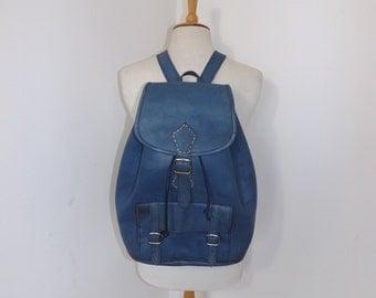 Vintage large blue real leather backpack rucksack brown tan bag back pack traditional