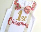 Baby Boys 1st Christmas Bow Tie and Suspenders Bodysuit Onesie