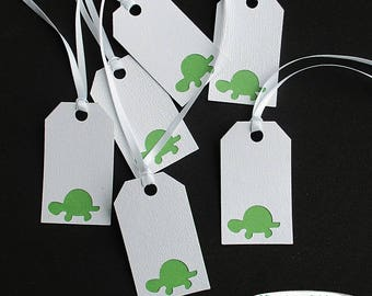 Turtle Gift Tags - Set of 6 - Birthday Gift Tags - Green Turtle Gift Tags - Turtle Themed Party - Boy Birthday