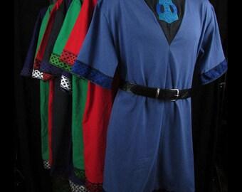 Custom Viking Tunic: Your Choice Trim Color & Embroidery Design, Heathen Tunic, Norse Tunic, Viking Shirt, Viking Cotton Tunic, Medieval SCA
