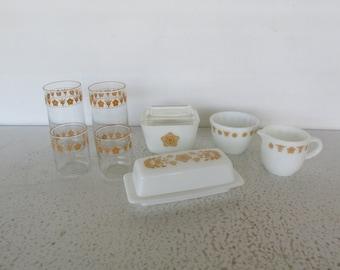Pyrex 8 Piece Butterfly Gold Butter Cream Sugar Refrigerator Dish Glasses Corning