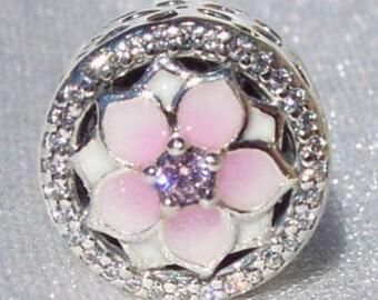 Pandora, Magnolia Bloom, Button Charm, Pale Cerise Enamel, Pink Cz, Floral Bracelet Bead, Springtime Jewelry, Gift Ideas, FREE SHIPPING