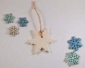 Snowflake Ornament, White Christmas Decoration, Clay Christmas Tree Ornament, Winter Home Decor, Holiday Decoration, Christmas gift